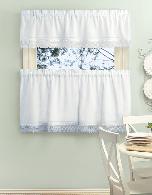 Sophia Kitchen Tiers And Valance With Macramé Band | Renaissance Home  Fashion