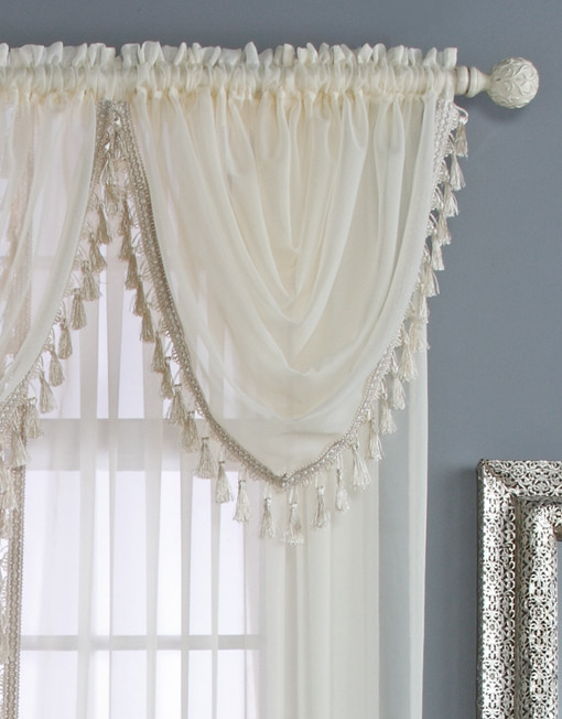 Charlotte Sheer Waterfall Valance With Tassels Renaissance Home Fashion