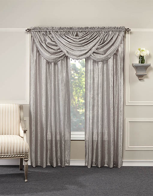 Whisper Crushed Satin Waterfall Valance With Beaded Trim