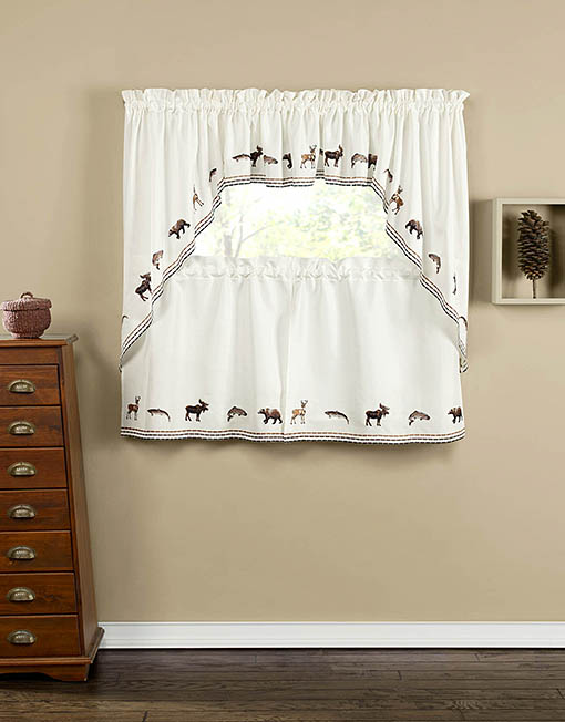 Lodge Embroidered Tier Pair Swag Pair Amp Insert Valance